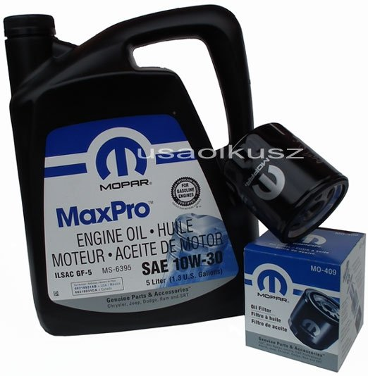 Oryginalny filtr oleju oraz olej MOPAR 10W30 Jeep Liberty 2,4 16V
