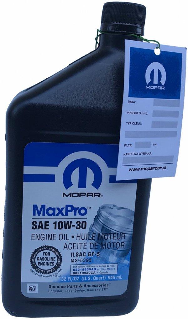 Olej silnikowy 10W30 MOPAR GF-5 MS-6395 0,946mL