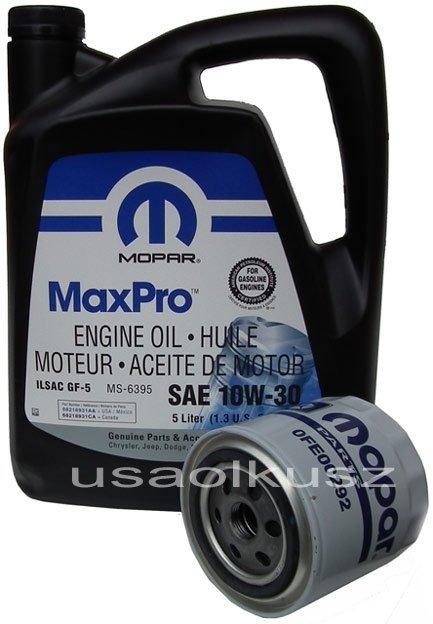 Filtr oleju + olej MOPAR 10W30 Dodge Caravan