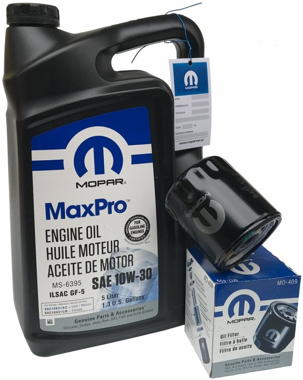 Oryginalny filtr oleju oraz olej MOPAR 10W30 Chrysler Voyager