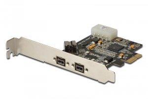 Kontroler FireWire (800) DIGITUS PCIe, 2x zew. 1x wew. IEEE1394b 9-pin, Low Profile