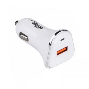 Akyga ładowarka samochodowa Quick Charge AK-CH-07 1x USB 3A biała 12V