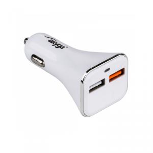 Akyga ładowarka samochodowa Quick Charge AK-CH-08 2x USB 3A biała 12V