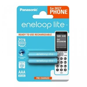 Panasonic Eneloop Lite R03/AAA 550mAh akumulatory – 2 szt blister (dla telefonów DECT)