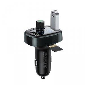Baseus transmiter FM T-Type Bluetooth MP3 ładowarka samochodowa czarna