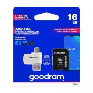 GoodRam karta pamięci microSDHC (16GB | klasa 10 | UHS I) + adapter + czytnik kart