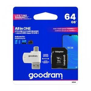 GoodRam karta pamięci microSDHC (64GB | klasa 10 | UHS I) + adapter + czytnik kart