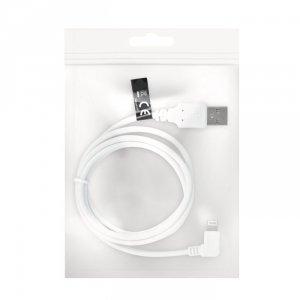 Kabel USB - Lightning 1,0 m 1A biały kątowy woreczek