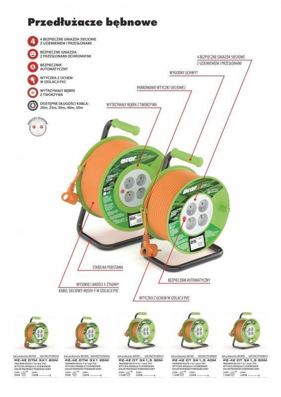 Przedłużacz bębnowy Acar M01802 40m pomarańczowy
