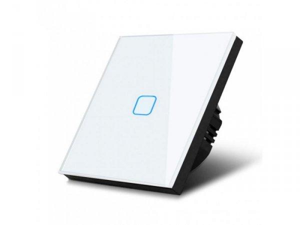 Włącznik dotykowy światła Maclean MCE701W pojedyńczy, szklany, biały z kwadratowym przyciskiem, wymiary 86x86mm, z podświetlenie