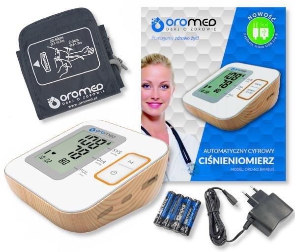 Ciśnieniomierz OROMED ORO-N2 BAMBUS + ZASILACZ USB