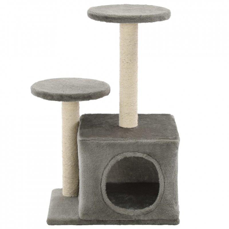 Drapak dla kota z sizalowymi słupkami, 60 cm, szary