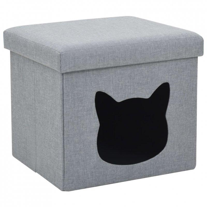 Składane legowisko dla kota, sztuczny len, 37x33x33 cm, szare