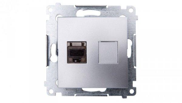 Simon 54 Gniazdo komputerowe pojedyncze RJ45 kat.6 ekranowane z przesłoną srebrny mat D61E.01/43
