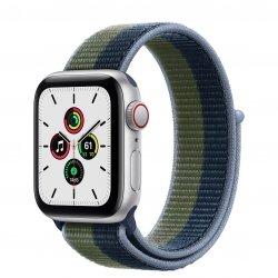 Apple Watch SE 40mm GPS + Cellular Aluminium w kolorze srebrnym z opaską sportową w kolorze błękitnej toni/zielonego mchu