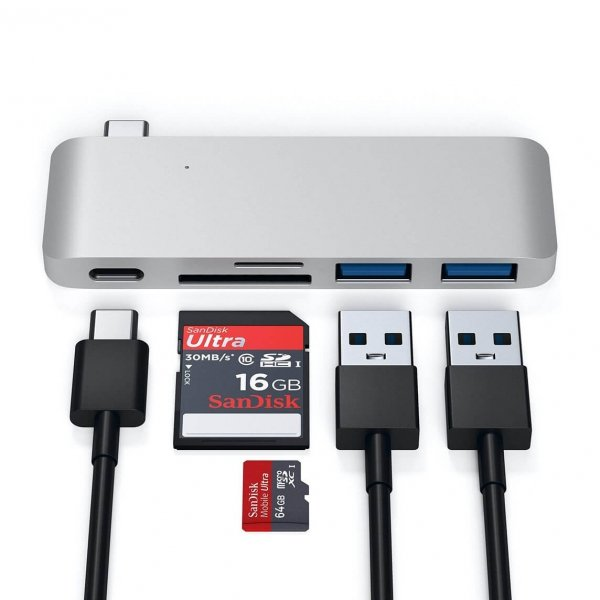 Satechi USB-C Pass Through HUB - 2xUSB 3.0 / USB-C (PD) / SD / microSD / Silver (srebrny)