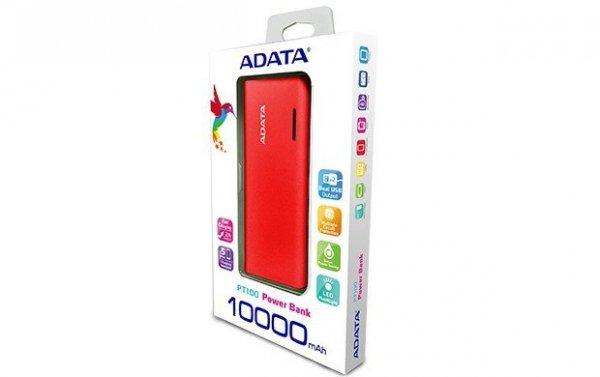 Adata PowerBank PT100 10000mAh 3.1A Czerwony/Pomarańczowy