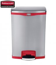 Kosz Slim Jim® Step-On 90L Metal stainless steel / red