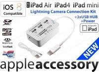 iPad Air 4 mini Card Reader +3 USB HUB +zasilanie iOS7