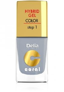 Delia Cosmetics Coral Hybrid Gel Emalia do paznokci nr 08 jasna szarość 11ml