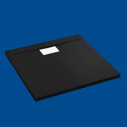 Brodzik posadzkowy najazdowy dla osób starszych i niepełnosprawnych czarny akrylowy 100x80