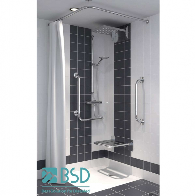 Drążek narożny zasłony prysznicowej stały 90x90 stal nierdzewna fi25