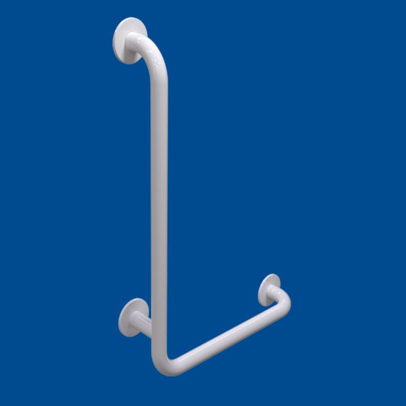 Uchwyt Kątowy dla Niepełnosprawnych lewy 100/60cm biały fi32 + MASKOWNICE