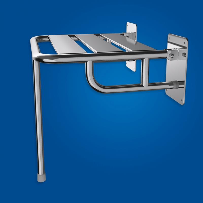 Krzesełko Prysznicowe dla Niepełnosprawnych Uchylne wzmocnione stal nierdz. z podporą fi25