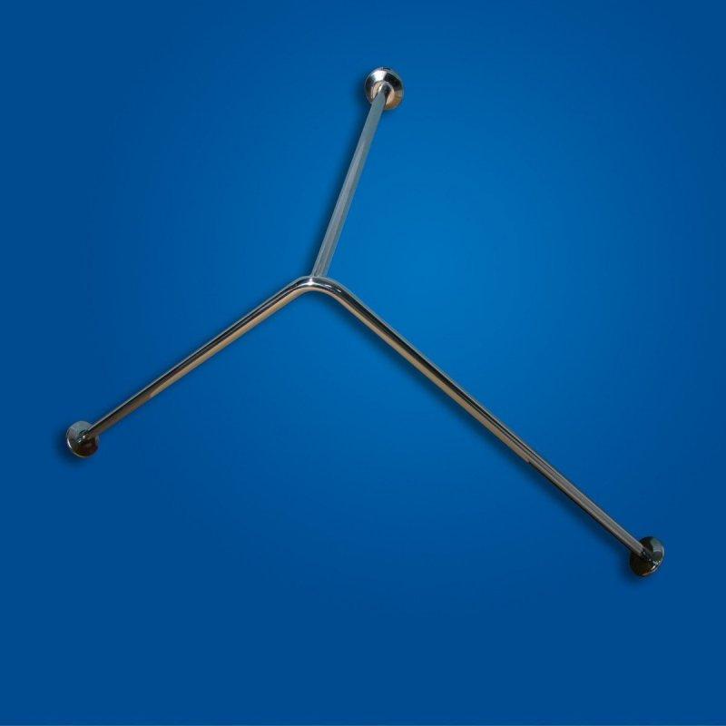 Drążek zasłony Prysznicowej z podwieszeniem sufitowym 90/90/50cm stal nierdzewna fi25