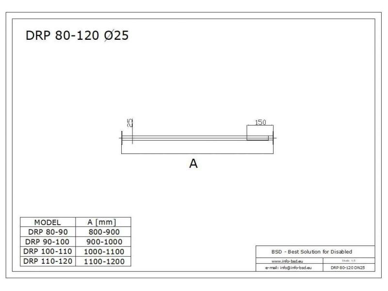 Drążek prosty regulowany 110x120 stal nierdzewna fi25