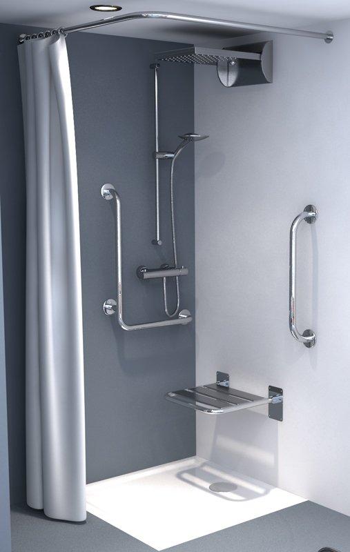 Zasłonka prysznicowa tekstylna biała/beż 240x200cm