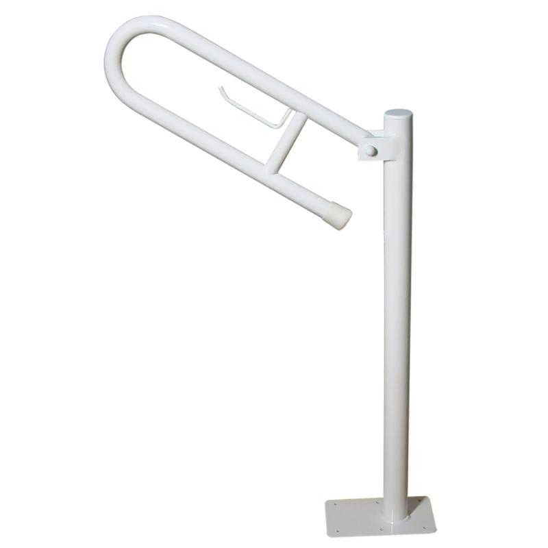 Uchwyt Uchylny WC dla Niepełnosprawnych wolnostojący z zawieszką na papier 50cm biały fi32
