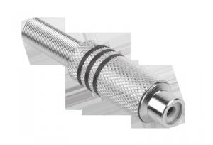 Gniazdo RCA srebrne 3 paski na kabel czarne