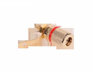 Gniazdo bananowe montażowe czerwone złote metal