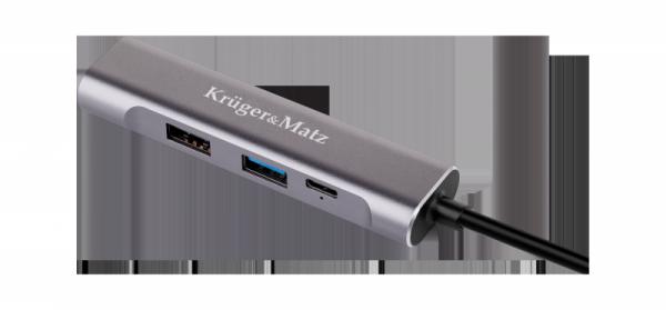 Adapter (HUB)  USB typu C na HDMI/USB3.0/USB2.0/C port