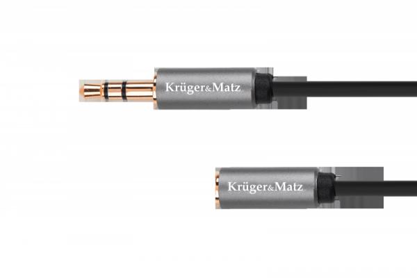 Kabel jack 3.5 wtyk stereo - 3.5 gniazdo stereo 1.8m Kruger&Matz Basic
