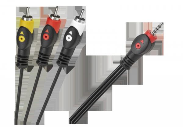 Kabel Jack 3.5 cztero-polowy 3 x RCA 1.5m
