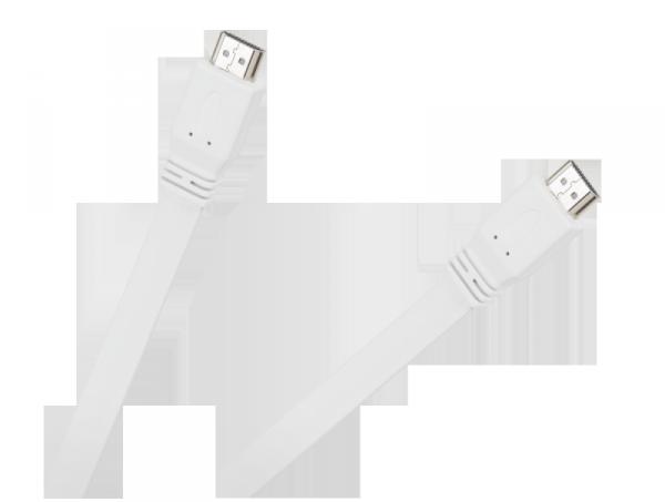 Kabel HDMI-HDMI płaski biały 2.0V 1.8M