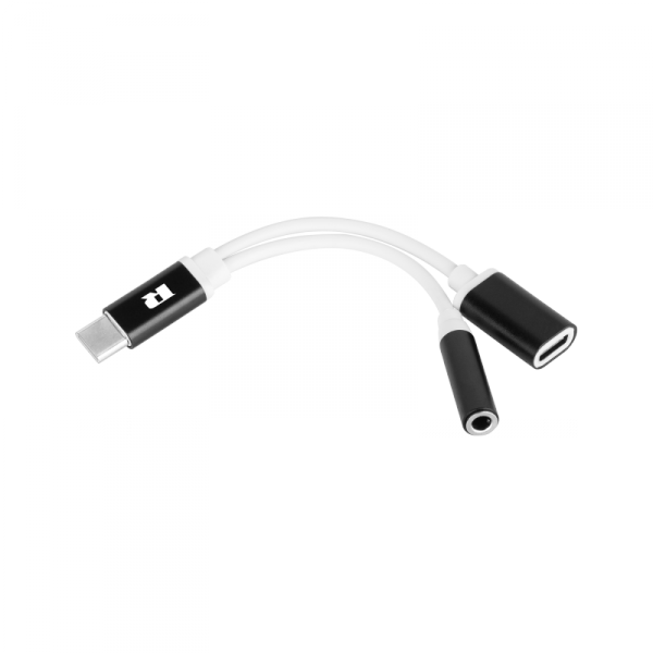 Adapter USB typu C - gniazdo Jack 3.5 + gniazdo USB typu C stereo 15 cm REBEL