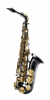 Saksofon altowy Forestone lakierowany, zdobiony, GX black nickel plated with gold lacquer keys
