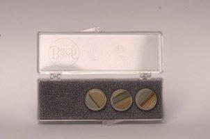 Nakrętki z kamieniami szlachetnymi do wentyli tłokowych do trąbki Vincent Bach Valve Buttons Picture Jasper posrebrzane