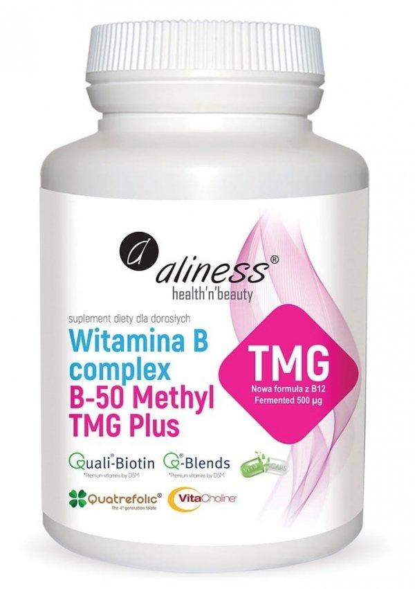 Witamina B Complex B-50 Methyl TMG PLUS 100 kapsułek Vege Aliness