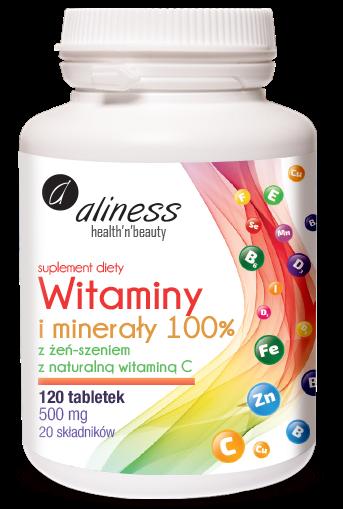 Aliness witaminy i minerały 100% x 120 tabletek - 20 składniów