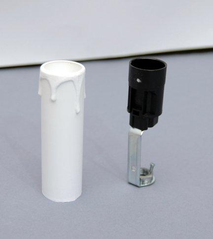 5x świeczka osłonka gilza26 z oprawką E14 BIAŁA 85mm