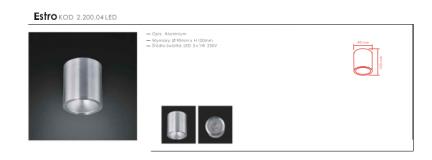 Plafon Estro alluminio Orlicki Design