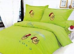 Pościel dziecięca haftowana 100% bawełna 160x200  wzór kurczaczki