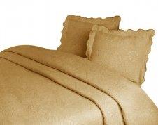 Narzuta GRENO Żakardowa na łóżko 170x210 wz.  FLOWER beż
