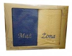 Komplet ręczników Mąż i Żona kolor niebieski-ecru