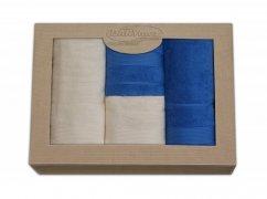 Komplet ręczników czteroczęściowy  Moreno 2x 50x90 + 2x 70x140 Krem - Niebieski