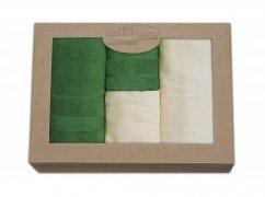 Komplet ręczników czteroczęściowy  Moreno 2x 50x90 + 2x 70x140 Krem - Zieleń